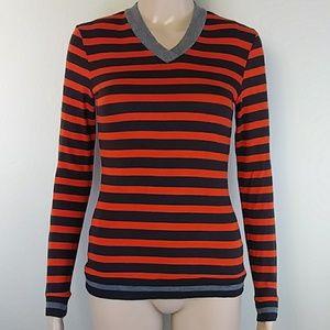 [Bailey 44] Orange Striped Grey Trim V Neck